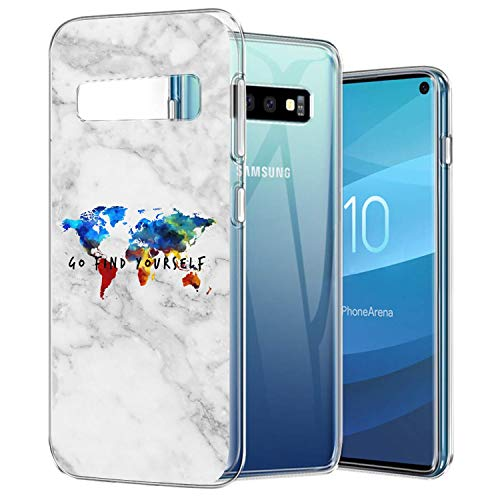 ZSTVIVA Galaxy S10 Case World Map World Map White Marble Marble map Peace Marble Agate Glass