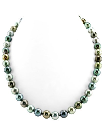 (THE PEARL SOURCE 14K Gold 8-10mm Round Genuine Multicolor Tahitian South Sea Cultured Pearl Necklace in 16