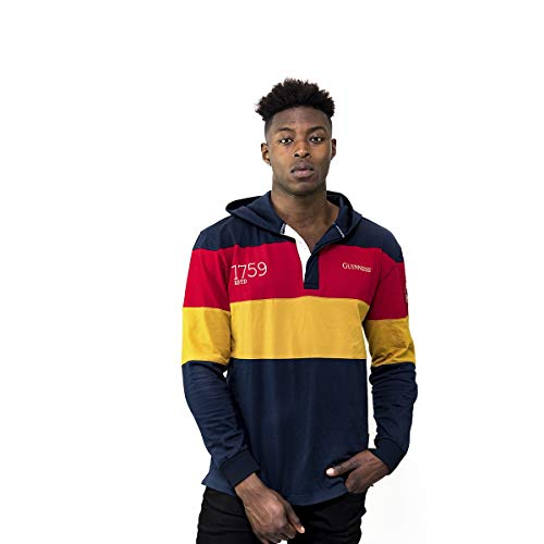(GUINNESS Navy Panelled Hooded Rugby Jersey,Navy / Red / Yellow,XX-Large)