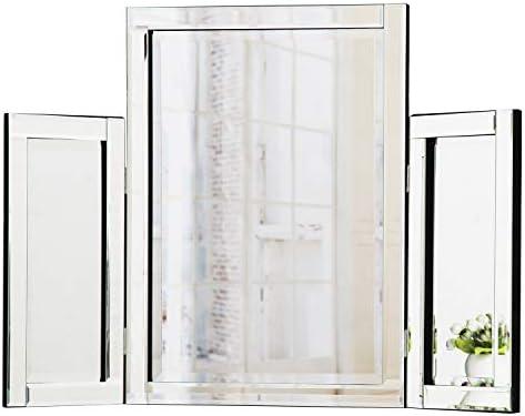 RICHTOP Miroir de table à trois tablettes sur pied Miroir pour ...