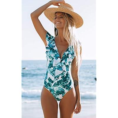 Sporlike Women One Piece Swimsuit V-Neck Ruffle Bathing Suit Padded Monokini at Women's Clothing store