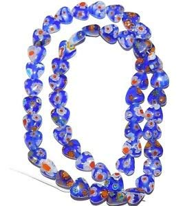 Steven_store G3062 Blue with Multiple Color Flowers 8mm Flat Heart Millefiori Glass Beads 15