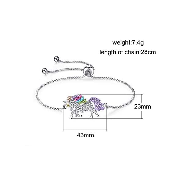 4MEMORYS Rainbow Unicorn Jewelry Set Including Pendant Necklace, Bracelet Rhinestone Crystal Rhodium Plated Women Girls… 9