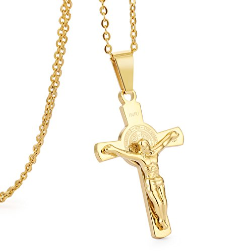COTTVOTT Womens Crucifix Cross Pendant Necklace Stainless Steel Link Chain (Golden)