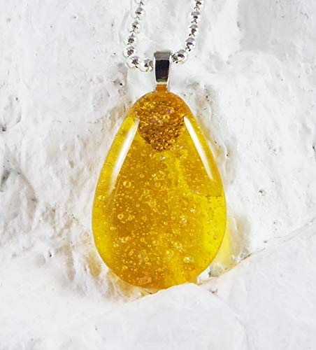 Crafted Art Handmade Fused Glass Yellow Dichroic Teardrop Pendant
