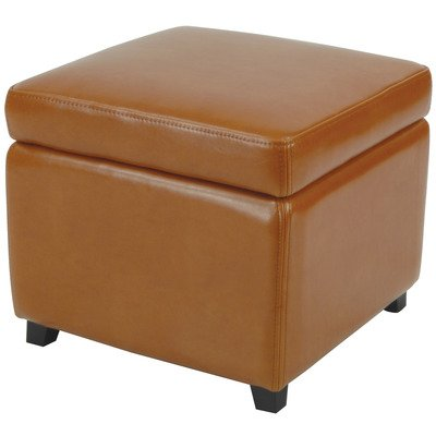 Plush Bicast Leather Flip-Top Storage Ottoman - Modern Leather Ottomans: Contemporary Leather Ottoman Styles