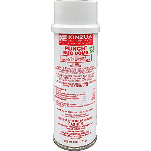 Kinzua Environmental Punch Bug Bomb | 100% Kills Mosquitoes, Cockroaches, Fleas, Ants, Houseflies & More | Commercial-Grade Fogger | Easy-to-Use | Non-Staining, Water-Base Formula (6 oz)