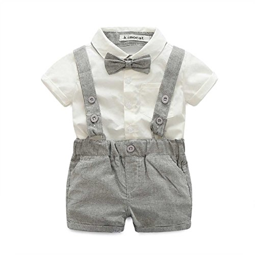 Toddler Pageant Outfits (Toddler Boy's Outfit, Wedding Party Suit, 3PCS Shirt, Pants & Bow-tie Set (4T, gray))