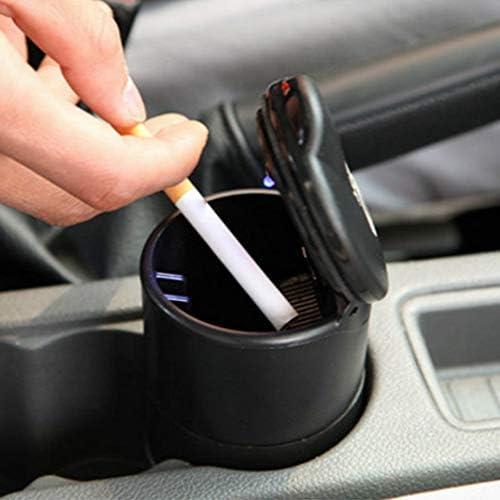 EUEMCH ポータブル車の車の灰皿ブルーLEDランプ無煙灰皿滑り止めラバーソール