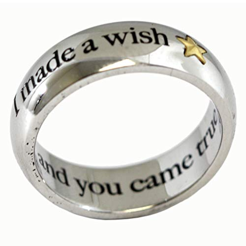 I Made A Wish And You Came True Ring With Gold Colored Star - Stainless Steel Inspirational Poesy Ring - Love Ring - Gold Star Ring ()