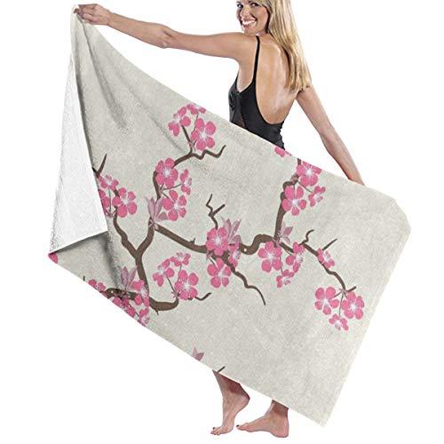 (WOQIZNNFEOT Bath Towels Pink Cherry Blossom Flower Bathroom Body Shower Towel,Custom Beach/Shower Towel Wrap Size 31x51 Inches)