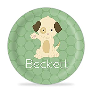 Puppy Plate - Green Dot, Tan Puppy Dog Melamine Personalized Name Plate