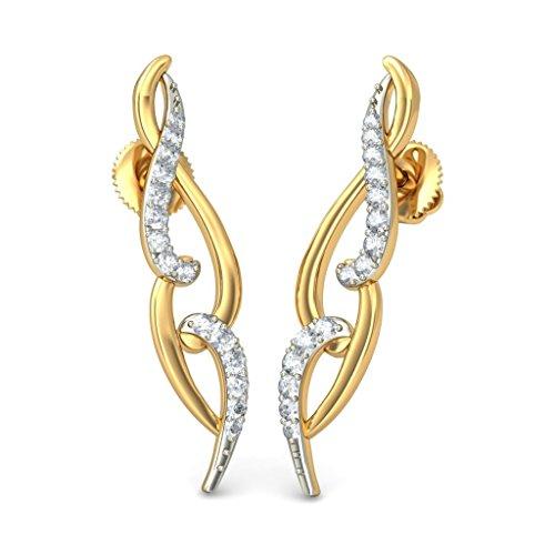 14K Or jaune 0.24CT TW White-diamond (IJ | SI) Boucles d'oreille à tige