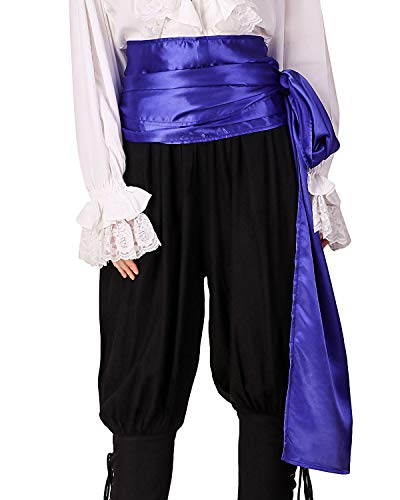 (ThePirateDressing Pirate Medieval Renaissance Halloween Cosplay Costume Satin Large Sash (Royal)
