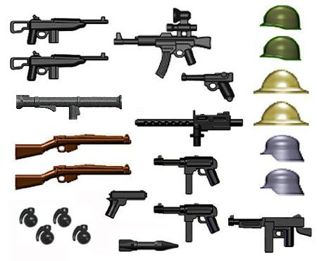 BrickArms 2.5 Scale World War II Weapons Pack Gunmetal Grenades Version