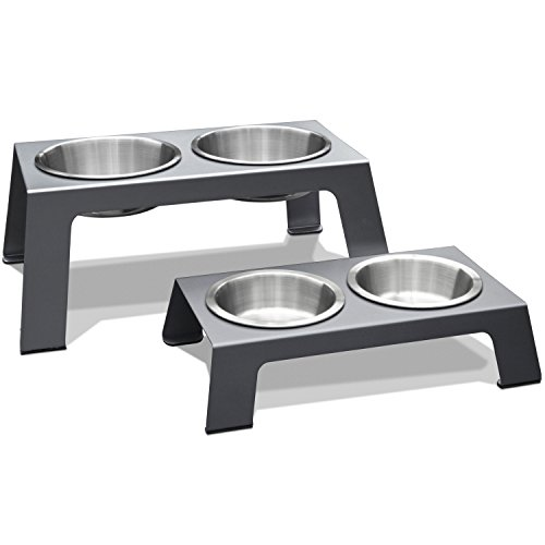 PetFusion Elevated Pet Feeder in Premium Anodized Aluminum (Short 4