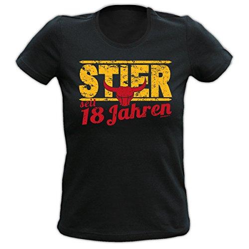 Lady Shirt 18 Jahre Stier Damen T-Shirt Geburtstag Geschenk geil bedruckt Goodman Design