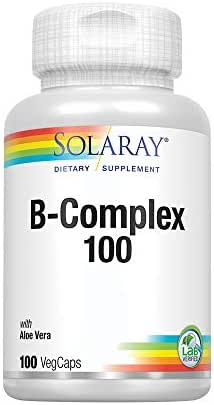 Solaray Vitamin B-Complex 100 | Supports Healthy Hair and Skin, Immune System Function, Blood Cell Formation and Energy Metabolism | 100 VegCaps
