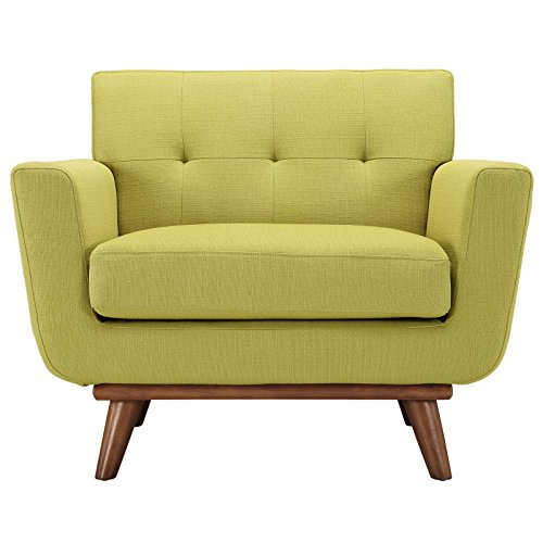 Modway Engage Mid-Century Modern Upholstered Fabric Armchair In Wheatgrass (Chair Upholstered Sofa Fabric)