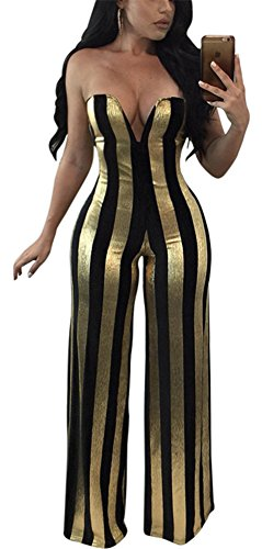 Speedle Womens Sexy Strapless Metallic Stripe Wide Leg Long Pants Club Jumpsuits Rompers Gold L (Striped Pant Metallic)