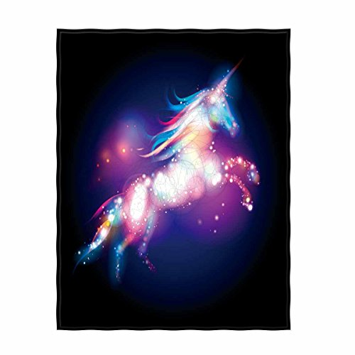 nicorn Logo Concept Magic Design With Stars Soft Throw Blanket for Bed Couch Sofa Lightweight Travelling Camping Throw Size for Kids Boys Women All Season… ()
