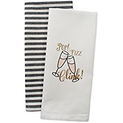 DII Cotton Christmas New Year Holiday Dish Towels, 18x28 Set of 2, Decorative Oversized Kitchen Towels, Perfect Home and Kitchen Gift-Pop Fizz Clink