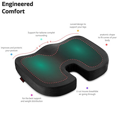 ZIRAKI Coccyx Seat Cushion Orthopedic, Luxury Chair Pillow, 100% Memory Foam, for Back Pain Relief & Sciatica & Tailbone Pain Back Support - Ideal Gift for Home Office Chair & Car Driver Seat Pillow by ZIRAKI (Image #2)