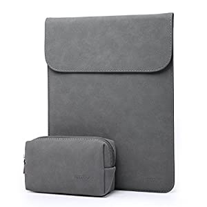 HYZUO Suede 15-15.4 Inch Laptop Sleeve Case for 15 Inch New MacBook Pro with Touch Bar 2016 2017 / Macbook Pro Retina waterproof Protective Cover with Small Carrying Bag, Matte Gray