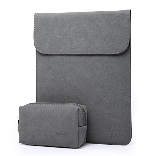 HYZUO 15-15.4 Inch Laptop Sleeve Case for 15 Inch New MacBook Pro with Touch Bar 2016 2017 / Macbook Pro Retina Waterproof Protective Cover with Small Carrying Bag, Faux Suede Leather-Dark Gray