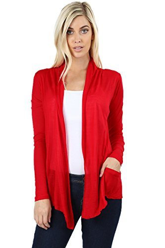 - Women's Cardigan Summer Long Sleeve Waterfall Drape Hacci Breathable Solid W/Pocket -Ruby (Medium)