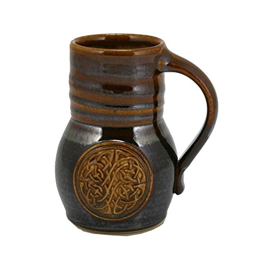 Pottery Beer Mug (20oz Beaker Beer Mug with Celtic Knot emblem and Metallic Brown Glaze)