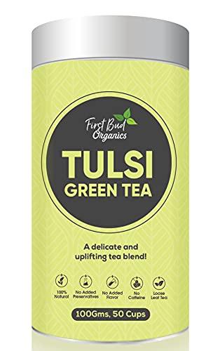 First Bud Organics Tulsi Green Tea -100 Gram – Green Tea Loose Leaves with Rama Tulsi and Shyama Tulsi 100 Gram – | Organic Green Tea