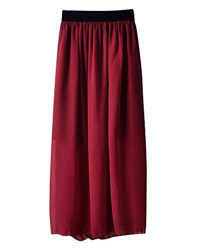 Soie Soie Casual Vin Mousseline Jupe Jupe lgant en Rouge Femmes Longue de Midi Mesdames Mousseline de Pliss lastique Taille aYdwIOqTO