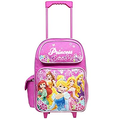 Disney Large Rolling Backpack Princess w/ Flowers Pink School Bag New a03887: Toys & Games