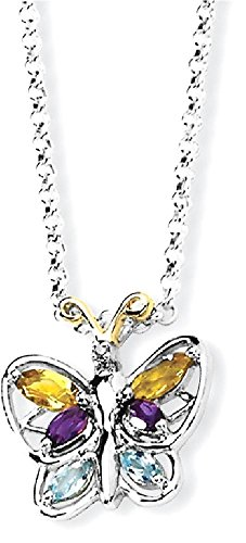 Gem Crystal 14k Pendant (ICE CARATS 925 Sterling Silver 14k Citrine/amethyst/blue Topaz Butterfly Chain Necklace Gemstone Fine Jewelry Gift Set For Women Heart)