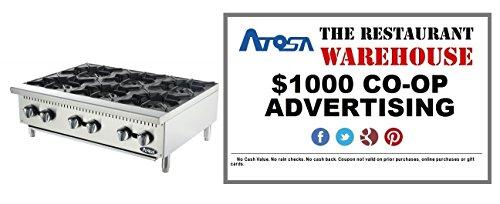 Atosa 36-Inch Six Burner Hotplate - Propane and $1000 Restaurant Advertising (Burner Propane Hot Plate)