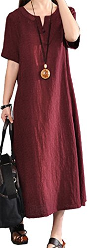Casual Mujer Vestido Manga Verano Lino y Maxi Talla Rojo Vestidos Kaftan Largo Vino Grande Yeesea Corta Algodón F5vd7Fq