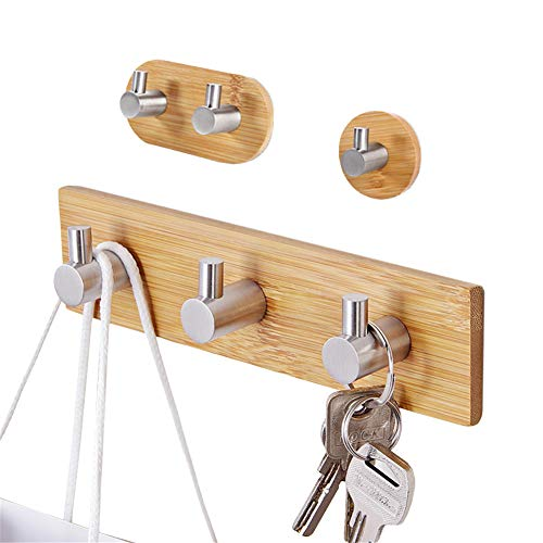 Hica Self Adhesive Hooks 3M, Wooden Wall Hooks 3 Packs Adhesive Towel Coat Hooks Heavy Duty Bamboo Stainless Steel Hooks Hanger for Bathroom Kitchen Bedroom