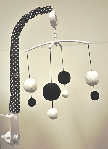 Bacati - Dots/pin Stripes Black/White Musical - Dot Mobile