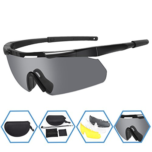 XAegis Tactical Military Goggles 3 Interchangeable Lenses, Outdoor Antifog Safety Glasses & Hard Shell Case - Unisex Shooting Glasses Cycling, Driving, Hiking,Fishing, Hunting - Black Frame (Multi Lens Biking Glases)