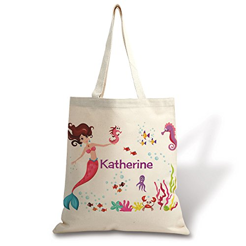 "Personalized Kids Mermaid Cotton Canvas Tote - 15"" for sale  Delivered anywhere in USA"