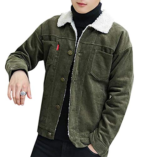 Front Stylish Lined Trucker EKU Button Men's Fashion Jackets Winter Armygreen Cotton t7BwBqXH