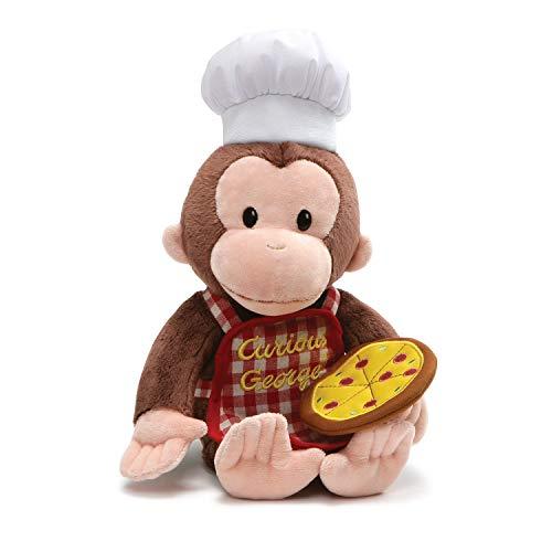 (GUND Curious George Pizza Pie Monkey Stuffed Animal Plush, Multicolor, 13