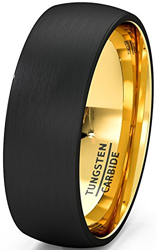 Mens Wedding Band Two Tone Black Tungsten Ring 8mm Gold Inside Matted Brushed Dome Comfort Fit(10)