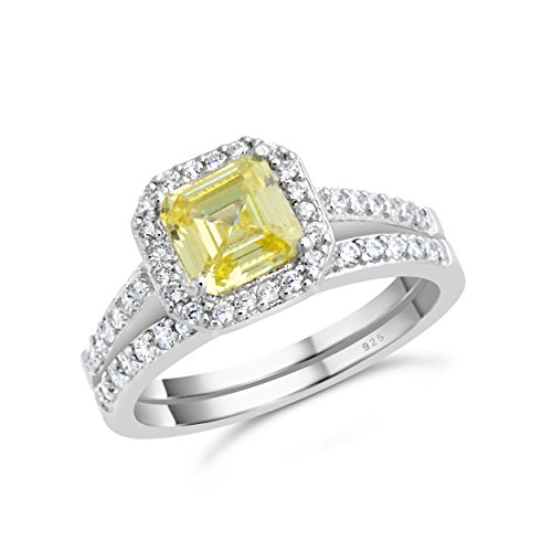 Sterling Silver Antique Style Canary Cubic Zirconia Engagement Ring Bridal Wedding Set