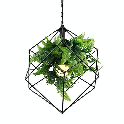CSDM.AI Modern Chandelier Light, Green Plant Pendant Light Shade for Restaurant Cafe Bar Wrought Iron Lamps, Size 42×45cm
