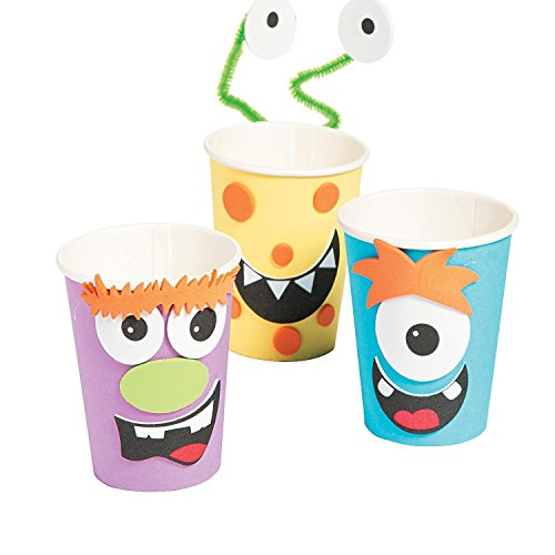 Bargain World Silly Monster Halloween Treat Cup Craft Kit (With Sticky (Ways To Celebrate Halloween At Home)