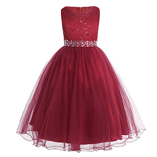 YiZYiF Kids Sequins Rhinestone Belt Embroidered Communion Pageant Wedding Party Flower Girls Dresses Burgundy ()