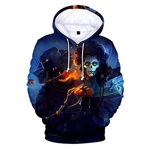 VEFSU Halloween Clothing Men Pullover Scary Casual 3D Print Sweatshirt Party Long Sleeve Hoodie Round Neck Couple Top Blouse Black A L2