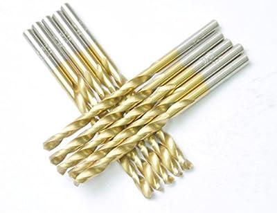 "DRILLFORCE HSS Jobber Length 10 PCS,7/64"" x 2-5/8""Titanium Coated Twist Drill Bits, Metal drill, ideal for drilling on mild steel, copper, Aluminum, Zinc alloy etc. Pack In Plastic Bag (7/64)"